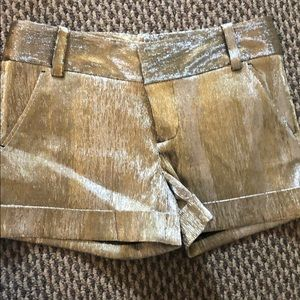 Alice and Olivia gold and silver shorts